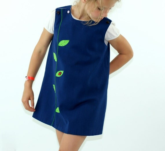 Vintage Jayne Copeland Romper Dress in Navy Blue and Ladybugs  Size 6X