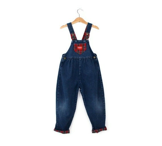 Vintage OshKosh Overalls in Denim and Red Plaid Size 5