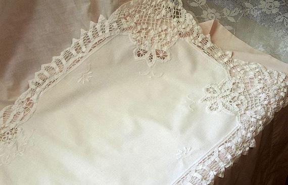 Vintage Battenburg Lace Table Runner Or Dresser Scarf White