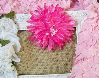 Pink Fabric Flower, Pink Flowers, Flowers, Flower Accents, Floral Accents, Pink, Shabby Style, Cottage Chic, Romantic Flowers, Accents