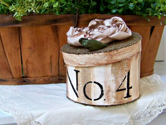 French Farmhouse Hand Painted Box with Hand-Ruffled Flower and Burlap Detail
