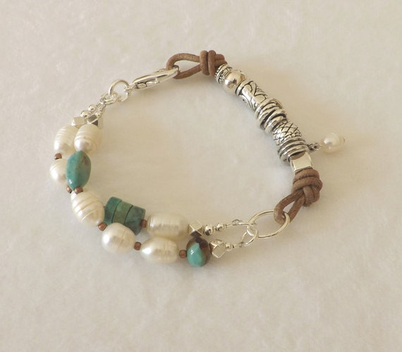 Turquoise, Freshwater Pearls, Silver and Leather Bracelet/Southwest/Boho Chic/Gift
