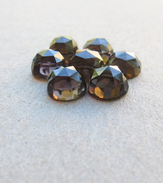 Smoky Quartz rose faceted cabochon - 8mm (2 pieces)
