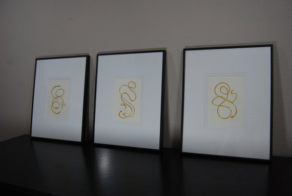 Original Paintings - Set of 3 - 5x7 Art.  Comes Matted & Framed, Ready to Hang 11x14 total size. Simple Contemporary.