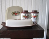 Sterlite kitchen set- napkin holder, butter dish, salt and pepper shaker - FunFindsVintage