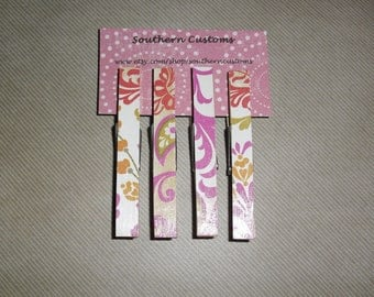 SALE Clothespin Magnets Pink, Orange, Green, White, and Brown Paisley and Flower Print, Set of four
