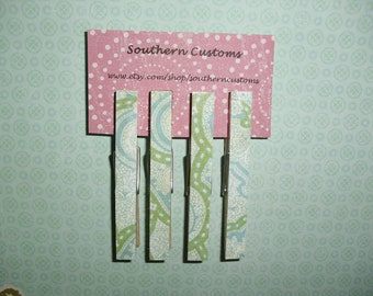 Clothespin Magnets set of four: Green, Blue, and White patterns SALE