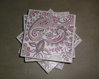 Coasters Pink, Green, Purple, Brown, and White, Flowers and Paisley Print, Felt-Backed, Tile, Set of Four