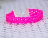 Hot Pink Braided Bracelet With Silver Clasps