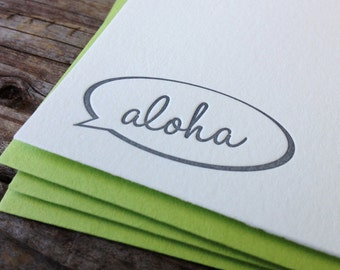 Speech Bubble Aloha Letterpress Note Card Set of 10