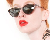 Vintage 60s cat eye pin up sunglasses tortoise shell brown 90s eyewear UV protection sunglasses