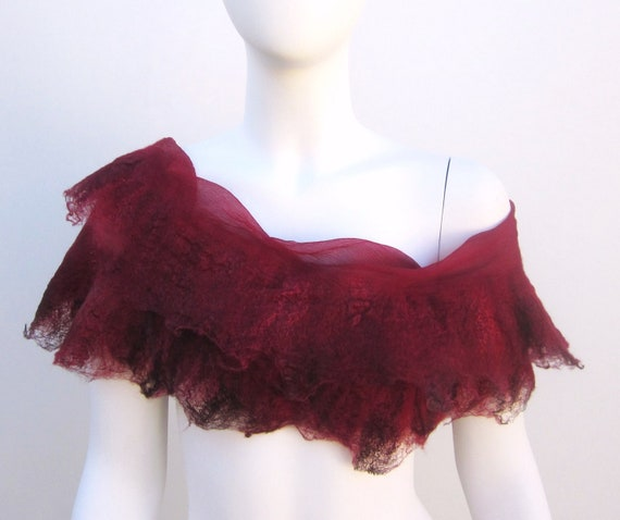 Ruby Red Silk Nuno Felt Wrap Scarf Wedding Shawl Evening Shrug