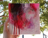 """6 x 6"""" Small Size Square Contemporary Modern Abstract Mixed Media Painting Art on Canvas Red Pink Purple Feminine by Julie Robertson"""