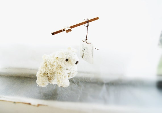 Dog string puppet white made from crochet thread