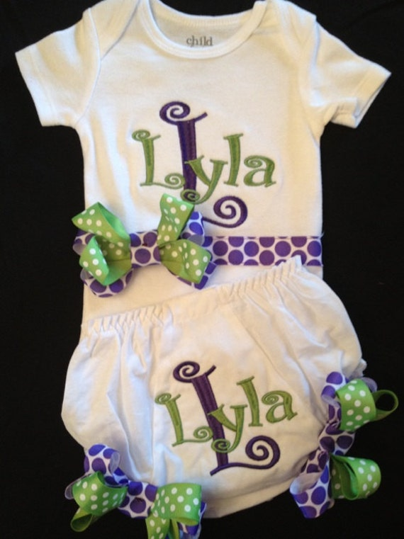 Custom Personalized Monogrammed Onesie & Bloomers...Bodysuit Diaper Cover for BaBy GiRl