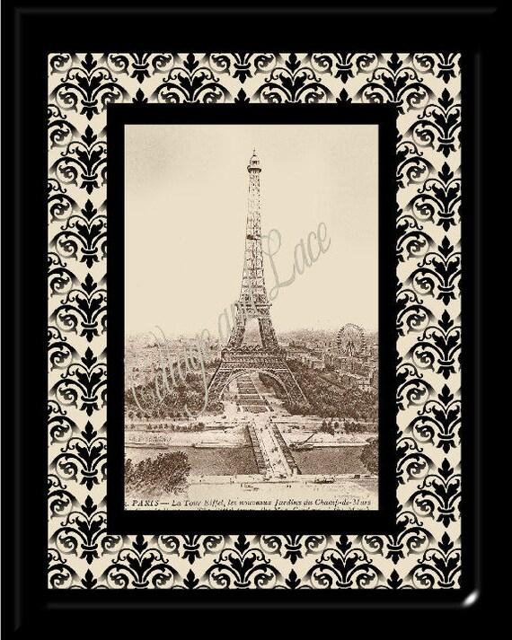 Printable Wall Print, Digital Print, Wall Decor, Digital Art Eiffel Tower  8 x 10 Picture  No 2028