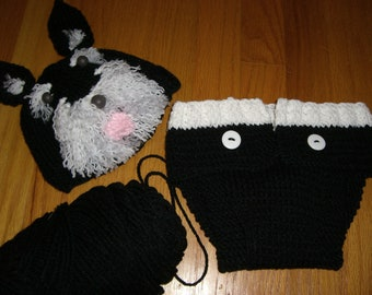 Knitted Baby Beanie Hat and Diaper Cover Custom Schnauzer Set or Other Dog Breed