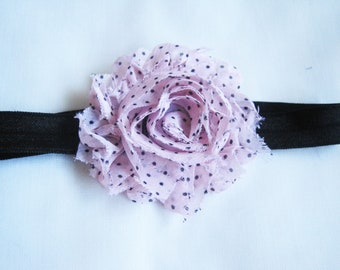 Light Pink with Black Polka Dot Headband, Baby Headbands, Infant Headbands, Baby Girl Headbands, Baby Bows, Infant Bows, Newborn Bows