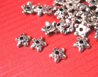 50pc 6mm antique silver lead nickel free bead caps-5541