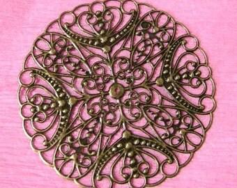 6pc 65mm antique bronze nickel free filigree wrap-2081