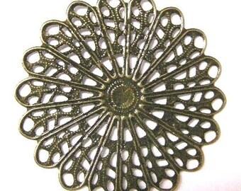 8pc 45mm antique bronze filigree wraps-5689