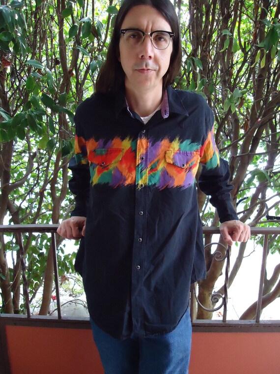 Vintage 1980s RAINBOW RODEO Mens Snap Western Shirt