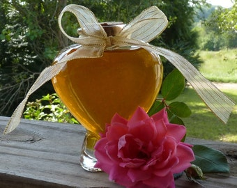 Jar of Golden Honey Antique Style Heart Jar 9oz Raw Pure Unfiltered Honey Unique Gift Wedding Favor Housewarming Gift Heart keepsake