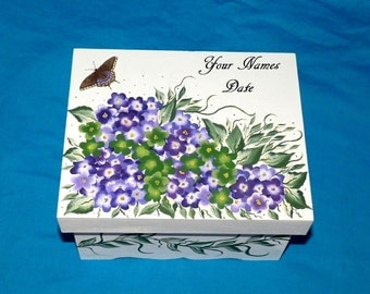 Decorative Personalized Wedding Keepsake Memory Box Hand Painted Wood Hydrangea Wedding Card Box Money Treasure Box Butterfly Wedding