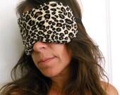 Leopard Print Brown Tan And Black Minky Sleep Mask