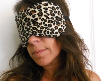 Leopard Print Brown Tan And Black Minky Sleep Mask