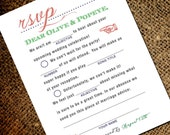 Mad Libs Inspired Vintage Wedding RSVP Postcard - Double Sided Respond Card (front and back) - Old Fashioned Style - Printable DIY