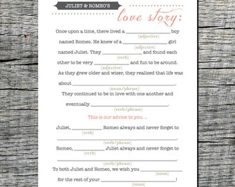 Mad Libs Love Story Wedding Card for Guests - Wedding Mad Libs Card Printable Mad Libs Wedding Games Printable Mad Libs