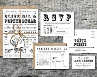 Rustic Wedding Invitation Suite Printable - 5 Piece Set - Wedding Invitation Vintage - Wedding Invitation Kit