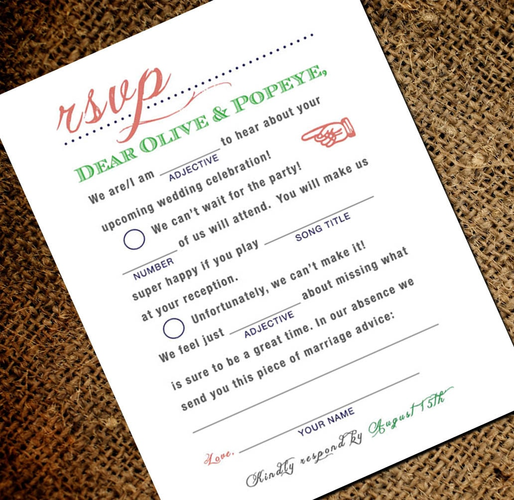 Mad Libs Wedding RSVP Postcard Wedding Madlibs Rsvp Card