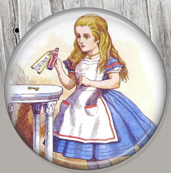Alice in Wonderland Party Favor Pocket Mirror, Drink Me Photo Mirror, Compact Mirror Coworker Gift, Stocking Stuffer Secret Santa Gift A142