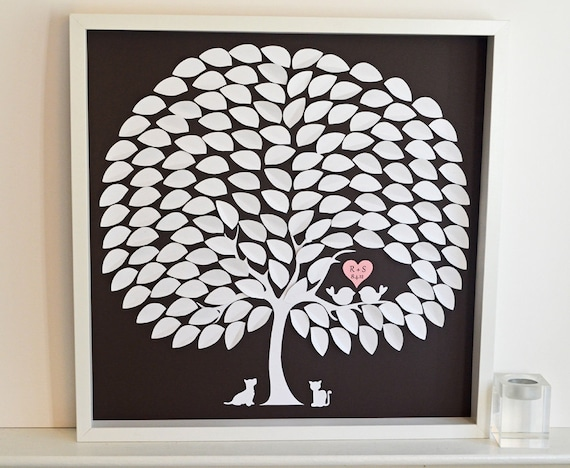 Reserved for Emily - Pet Wedding Guestbook 3D Tree - LARGE Wedding Guestbook for Weddings up to 225 guests