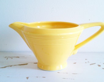 Vintage creamer, Homer Laughlin Harlequin, yellow, circa 1950