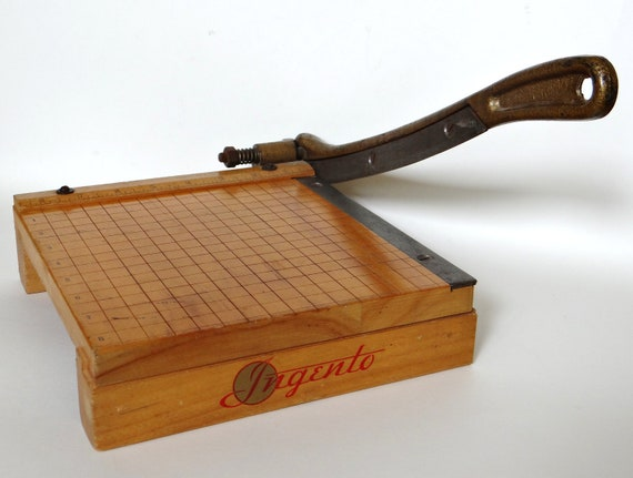 Vintage Ingento No.2 Paper Cutter  Wood and Cast Metal