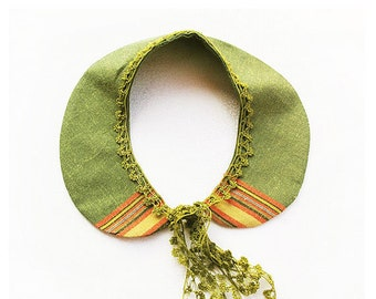 Fabric Peter Pan Collar- Olive Green Peter Pan Collar- Crochet Accessories-OOAK