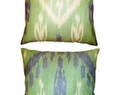 Set of 2 Handwoven Cotton Ikat Pillow Covers (18'' x 18'')  Mint Green Lilac Purple Cream Turquoise