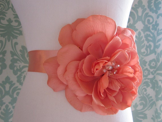 Bright Coral Flower Bridal Sash:  Large Silk Bloom Beaded Wedding Sash, Bridal Belt, Wedding Belt, Beaded Sash