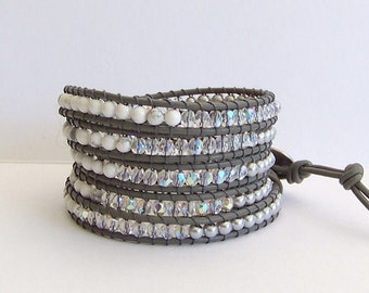 Howlite Beaded Leather Wrap Bracelet - Silver Pearls, Crystals, and Howlite, Grey Leather - Bohemian Elegant