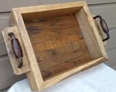 Rustic Wood Tray  Basket Reclaimed Oak, and Re-purposed Vintage Handles Handmade Industrial