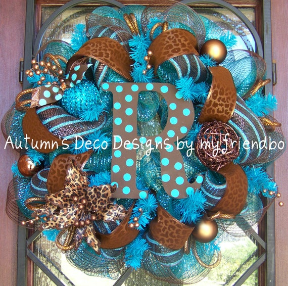 Fall Turquoise and Brown Leopard Print Deco Mesh Wreath