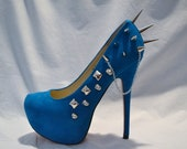 Turquoise Teal Spiked Chain Heels