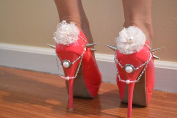 Pink Coral Unique Spiked Heels Size 7
