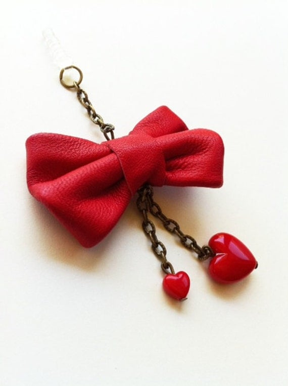 Red Leather Bow Tasseled Double Hearts iPhone Headphone Plug/ Dust Plug - Cellphone Accessories