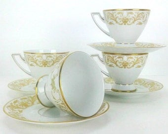 Exquisite Vintage Jaeger & Co Golden Chantilly Fine China Cups and Saucers Set of 4 Teacups Coffee Cups Trending Vintage