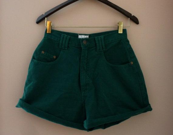 Vintage Green High Waisted Denim Shorts (Size 9)
