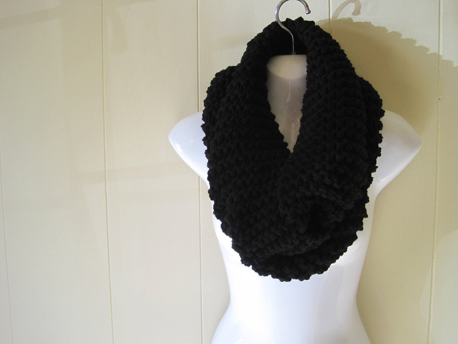 Black infinity scarf hand knitted scarf black acrylic scarf zoom bankloansurffo Choice Image